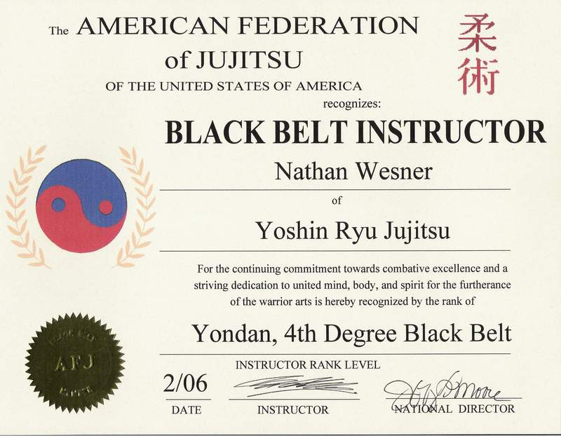 Wesners school of martial arts rank cert yadclub Image collections